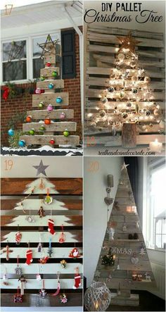 Christmas DIY: 38 inspiring alterna 38 inspiring alternative Christmas Tree ideas to DIY this holiday! From candy canes pine cones to paper and pallets these great tutorials are must-sees! - A Piece of Rainbow Pallet Christmas Tree, Noel Christmas, Outdoor Christmas, Rustic Christmas, Pallet Xmas Ideas, Homemade Christmas Tree, Pallet Tree, Xmas Trees, Modern Christmas
