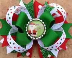 NAVIDAD QUERIDO SANTA Stacked Boutique Lazo para el cabello con Especial de Santa cinta, cinta
