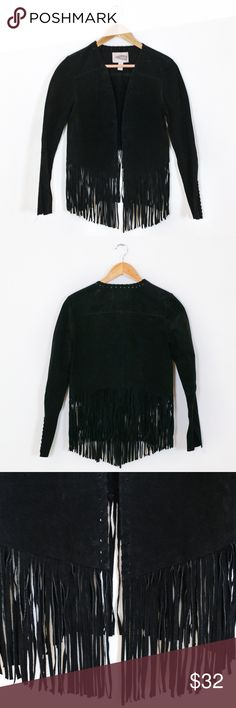 """Forever 21 Real Suede Fringe Jacket Super rad jacket featuring 100% real suede, cropped bodice, long bottom fringe. Sleeves have a lace up detail cuff. In perfect condition!   Marked a size XS and fits true to size. Measurements laying flat: Bust 18"""" Shoulders 16"""" Length 19""""/26"""" with fringe Sleeves 18"""" Forever 21 Jackets & Coats"""