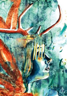 #deer #woman #forest #blue #feather Portraits, Illustrations, Blue Feather, Abstract, Artwork, Painting, Woman, Deer, Landscape