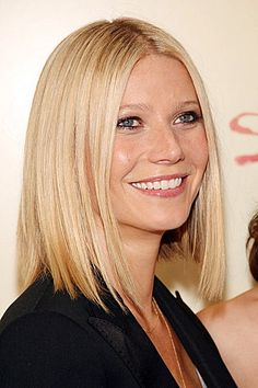 Gwyneth Paltrow went simple and demure with this ultra sleek LoB (Long Bob).  The blunt cut works best on fine hair. Stay away from this style if your face
