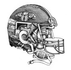 This HELMET Is Hiding A Hot Dog, Ketchup, Nachos, Fries, Peanut, Pennant, Play Board, Cleats, Shoulder Pads, Whistle, Goal Post, Megaphone, Mouth Guard, Tee, Ticket, Tackle, Tape, Touch Down, Ten To Go, Wishbone, Spike, Quarter Back, Clipping, Yard Marker, and Zone Defense.