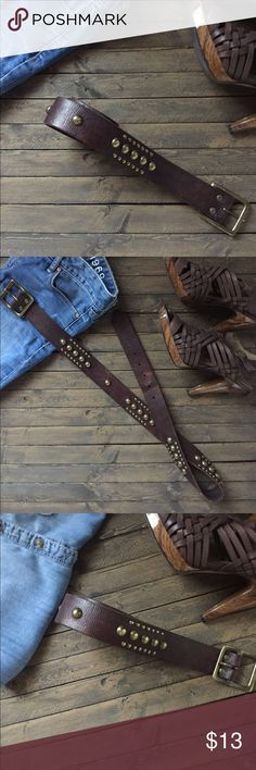 """🎉HP🎉GAP gold studded leather belt. Host Pick 🎉Comfy Chic Party 11/24/16 🎉The perfect addition to any wardrobe. Brown leather with antique gold studs. Genuine leather. Pair with your favorite jeans. Measures 42"""" in length and 2"""" wide. Gap size medium. Minor wear at 3rd belt notch, see pic 2. Environment is smoke and pet free 🌺✌️️ GAP Accessories Belts"""