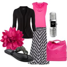 I like this combo! A pink cowl neck sweater would be really adorable with my black chevron.