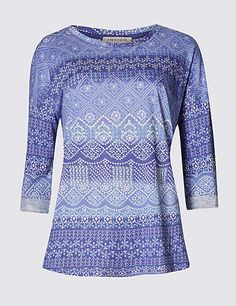 3/4 Sleeve Mosaic Print Top with Modal | M&S