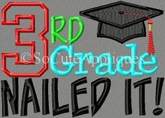 Grades Nailed It Applique Set - 5x7 | What's New | Machine Embroidery Designs | SWAKembroidery.com So Cute Appliques