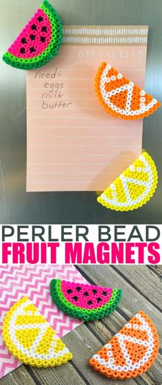 Crafts For Kids To Make At Home - Perler Bead Fruit Magnets - Cheap DIY Projects and Fun Craft Ideas for Children - Cute Paper Crafts, Fall and Winter Fun, Things For Toddlers, Babies, Boys and Girls to Make At Home http://diyjoy.com/diy-ideas-for-kids-to