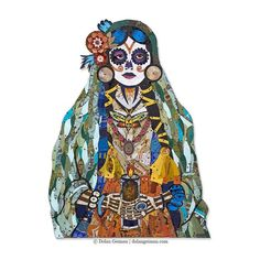 Recycled metal is hand cut and assembled on a wooden background, depicting a cowgirl dressed in Dia De Los Muertos fashion, complete with horses on her jacket.