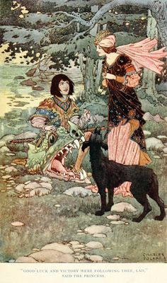 """Good luck and victory were following thee, lad,"" said the Princess - British Fairy and Folk Tales by W. J. Glover, 1920"