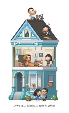 Love is :: Building a home together Love Cartoon Couple, Chibi Couple, Cute Love Cartoons, Hj Story, Cute Love Stories, Love Story, Funny Couple Pictures, Cute Pictures, Desenhos Love