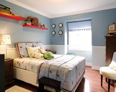 I like the two horizontal colours. Can be done without a dado rail....