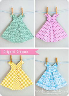 origami dress cards / name platesThis is a really cute origami Amazing DIY Origami Crafts- it's a Girl!Sweet Origami dresses Tutorial by Susan happyDid you know that origami is the Japanese art of paper folding? From one piece of paper you can mak Diy Origami, Origami Dress, Origami Paper, Diy Paper, Paper Crafts, Diy Crafts, Origami Tutorial, Origami Swan, Origami Hearts
