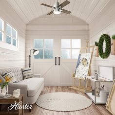 A She Shed is a great space to enjoy hobbies like sewing, crafting, and painting. We love this chic She Shed that includes a neutral palette with a pop of metal. Large Ceiling Fans, Best Ceiling Fans, Small Rooms, Small Spaces, Ceiling Fan Direction, 1960s Furniture, Home Ceiling, Guest Bedrooms, Dining Room Design