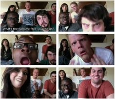 """What is the funniest face you can do?"" I guess this is a gif set, but I can't get to them. Oh well, saw the video, so it's all good. BTW, Avi and Scott have the best funny faces, IMO. xD"