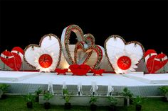 Wedding Enter Stage is the area where all the pictures are captured and these memories are very special in every couple's life. Below get some New Marriage Wedding Stage Decoration Ideas before starting the preparations of wedding centre stage decoration. Engagement Stage Decoration, Wedding Hall Decorations, Marriage Decoration, Backdrop Decorations, Backdrops, Wedding Backdrop Design, Wedding Stage Design, Wedding Reception Backdrop, Flower Garland Wedding