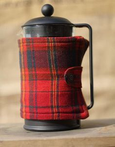 french press cozy! teapot plaid cover. copriteiera in flanella tartan #teapot
