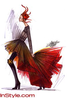 """What will Katniss Everdeen's fire dress look like? I can't wait to see! """"I like a fiery look that can spark the courage to start a rebellion,"""" says Rachel Roy of her design for Katniss."""