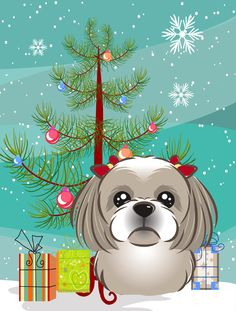 Christmas Tree and Shih Tzu 2-Sided Garden Flag