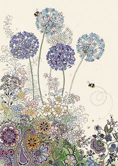 BugArt Collage ~ Purple Alliums. Collage *NEW* Designed by Jane Crowther.