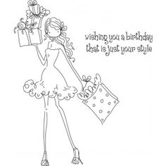 Uptown Girl Posh Has A Present Stamping Bella Unmounted Rubber Stamp LL131