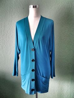 NEW CORSAGE BY TRACY REESE TURQUOISE KIMONO STYLE SLEEVE LONG CARDIGAN SMALL #CorsageByTracyReese #KnitCardigan #Casual