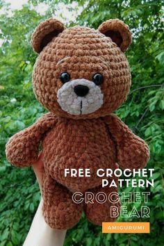 Crochet bear free pattern If you're searching for a cute plush toy, take a look at this bear amigurumi. Enjoy this free crochet pattern, create a your own bear. The finished bear is 26 cm tall. Crochet Bear Patterns, Crochet Amigurumi Free Patterns, Crochet Animals, Crochet Dolls, Crochet Stuffed Animals, Crochet Animal Amigurumi, Sock Animals, Clay Animals, Mini Amigurumi