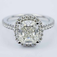 It's all about the Halos! Check out this beautiful Cushion Diamond Halo Engagement Ring in White Gold!