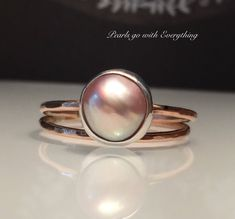 A personal favorite from my Etsy shop https://www.etsy.com/listing/557819403/rosegold-skinny-pearl-ringblush-gold