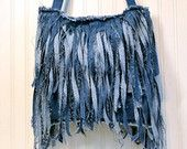 Denim Fringe Pillow Handmade from Recycled Blue Jean by MissThread