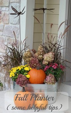 Fall planters. When you are done with your summer geraniums, petunias and other summer plants, it's time for a more autumn look!