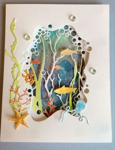 National Scrapbook Day 2017 – Loraine National Scrapbook Day 2017 Beneath the Surface — card using dies by Memory Box Tarjetas Diy, 3d Paper Art, Paper Artwork, Nautical Cards, Beach Cards, Paper Cards, Paper Cutting, Cut Paper, Homemade Cards