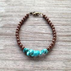 Turquoise on Bronze Simple Beaded Bracelet on Etsy, $10.00
