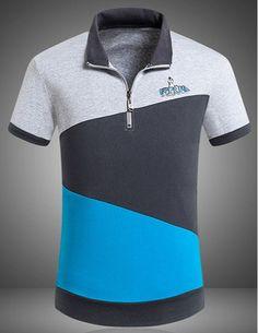 Slimming Trendy Turndown Collar Multicolor Splicing Short Sleeve Cotton Blend Polo T-Shirt For Men