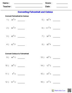 Math Worksheets Temperature Conversion  temperature conversions 7th 12th grade worksheet lesson