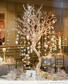 Tall Tree Wedding Centerpiece for Winter - 16 Winter Wedding Decorations To Make Your Bridal Dreams Come True Christmas Wedding Centerpieces, Winter Wedding Decorations, Christmas Decorations, Christmas Tree, Winter Weddings, Winter Centerpieces, Wedding Centrepieces, Branch Centerpiece Wedding, Wedding Ideas For Winter
