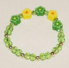 Children's Jewelry Green Yellow Beaded Flower Bracelet Designed By Shelly Ann