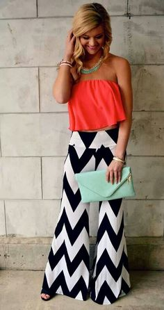 Try this with maxi dress. | Great Color Combo!! LOVE the Chevron Pants!! Super Cute & Comfy❤️