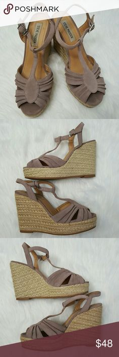 """Steve Madden Mammbow espadrille wedge 8 1/2 8 1/2 wedge in suede light pink/purple color. Adjustable T-strap closure. Woven wedge. 4.5"""" wedge with 1"""" platform. Peeling on insole of right shoe. Peeling on insides of both shoes where pinky toe sits. Excellent used condition. No box. Steve Madden Shoes Wedges"""