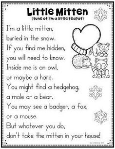 16 Activities To Go With The Mitten by Jan Brett #winter #mitten #poem #wintermittenpoem Do you love using this book in your classroom as much as I do? The Mitten, by Jan Brett, is a perfect read aloud for those winter m... Preschool Music, Preschool Themes, Preschool Lessons, Preschool Classroom, Preschool Learning, Preschool Crafts, Preschool Quotes, Winter Songs For Preschool, Teaching