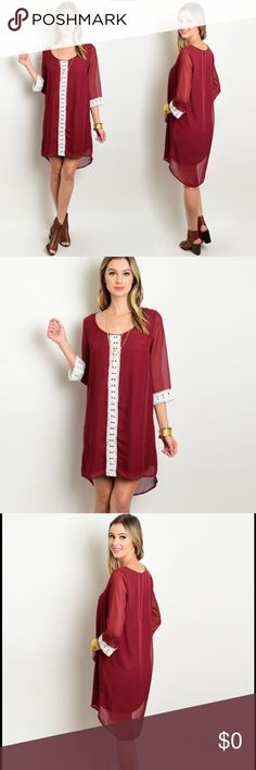 Wine Red Shift Dress Wine red shift fit dress featuring a crochet center and trim on 3/4 sleeves. 100% polyester.  Small:  Front length: (from shoulders) 34in. Back length: 36in. Chest: 34in.  Medium:  Front length: (from shoulders) 34.5in Back length: 37in Chest: 36in  Large:  Front length: (from shoulders) 35in Back length: 38in Chest: 38in Dresses Midi