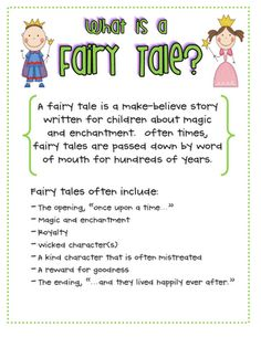 Fairy Tale Anchor Chart Traditional Literature, Traditional Tales, What Is A Fairy, Fractured Fairy Tales, Fairy Tales Unit, Fairy Tale Theme, Library Lessons, Library Ideas, Library Skills