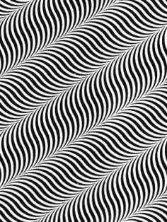 Optische illusie, zou ook thuis kunnen horen in vorm. Spiraalvormige figuren met lijntjes zwart wit