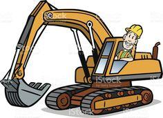 Cartoon Guy On Excavator royalty-free stock vector art Caterpillar Bulldozer, Truck Art, Cartoon Man, Construction Birthday, Man Birthday, Custom Cards, Free Vector Art, Kids Cards, Cute Drawings