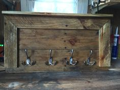 Coatrack out of some old #pallet #wood this would be cool by a front entry door #project #palletproject rustic