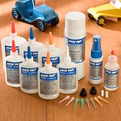 Quick-Set Glue-2.5 oz - Quick-Set CA glue I find Rockler's set of CA glue to be one of the handiest items in my shop. Not only do I use it for the wood joints it is intended for, but I also use it to repair my ear bud cables, on my wood carvings to glue small items together and on just about anything that I need stuck together. I use the Thin to stabilize punk wood, medium and thick to fill gaps. Be sure to get both the activator and debonder, they are a must.