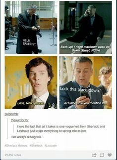 Or the fact that Sherlock never knows Lestrade's first name. Lestrade is totally Sherlock's dad (not really) but like he's there to look out for him. Sherlock Meme, Sherlock John, Jim Moriarty, Sherlock Holmes Bbc, Sherlock Quotes, Watson Sherlock, Sherlock Books, Sherlock Poster, Sherlock Season