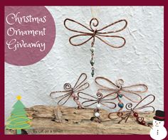 2016 Christmas Ornament Giveaway at Off on a Whim! Three dragonfly ornaments to 3 lucky winners!