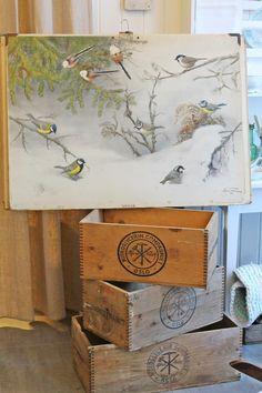 Rustic ... Scandinavian ... Snow Birds ... Great wooden crates ... VIBEKE DESIGN