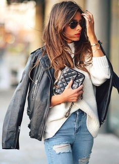 #winter #outfits /  Leather Jacket // White Turtleneck // Ripped Skinny Jeans