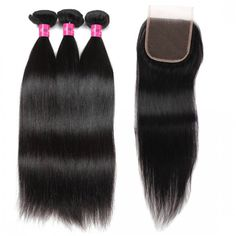 Indian Hair sew in Indian Straight Hair 3 Bundles With 4*4 Lace Closure Wholesale Straight Hair Human Hair Extensions Remy Hair Weft Products #hairextensions #hairbundles